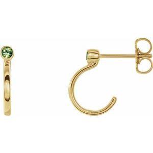 14K Yellow 3 mm Round Peridot Bezel-Set Hoop Earrings