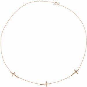 "14K Rose .05 CTW Diamond 3-Station Cross 16-18"" Necklace"