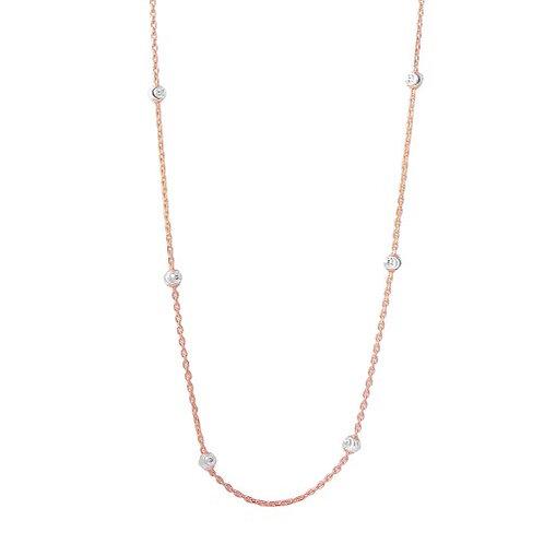 925 Diamond Cut Beaded Two-Tone Rhodium Plated Italian Necklace
