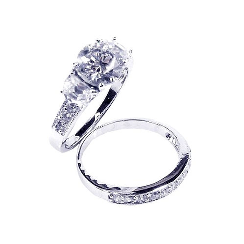 925 Rhodium Plated Clear Round Center CZ Bridal Ring Set