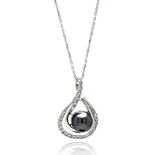 Teardrops Black Pearl Cubic Zirconia Sterling Silver Pendant Necklace
