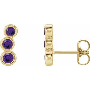 14K Yellow Amethyst Ear Climbers