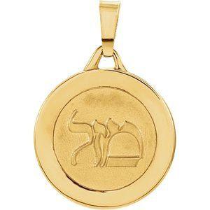 14K Yellow 15 mm Round Mazel Good Luck Medal