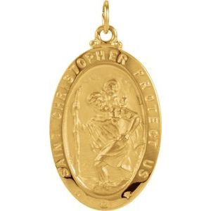14K Yellow 25x18 mm Oval St. Christopher Medal