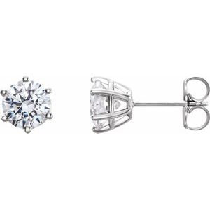 14K White 4 mm I2 1/2 CTW Diamond 6-Prong Wire Basket Earrings
