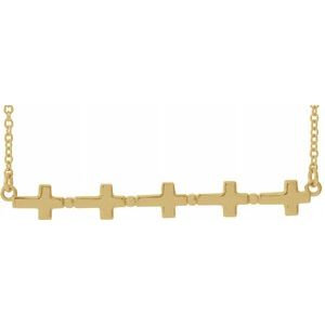 "14K Yellow Sideways Cross Bar 18"" Necklace"