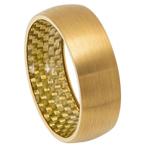 Yellow Gold Tone Domed Ring with Golden Carbon Fiber Inlay Inside - 8mm