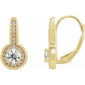 14K Yellow 5/8 CTW Diamond Milgrain Halo-Style Dangle Earrings