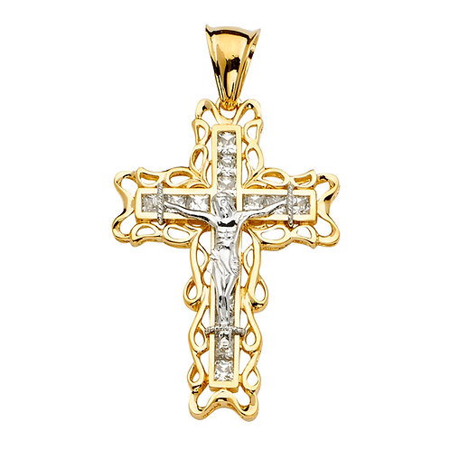 14K 2Tone CZ Crucifix Cross Pendant