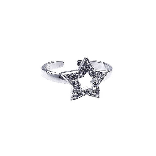 925 Rhodium Plated Clear CZ Star Toe Ring