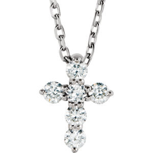 "Sterling Silver 1/6 CTW Diamond Cross 16-18"" Necklace"