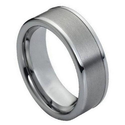Ring Brushed with Polished Shiny Raised Edge - 8mm