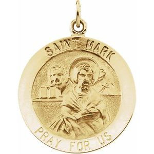 14K Yellow 18 mm Round St. Mark Medal