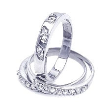 925 Rhodium Plated Clear Pave CZ Ring Set
