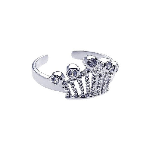 925 Rhodium Plated Clear CZ Crown Toe Ring