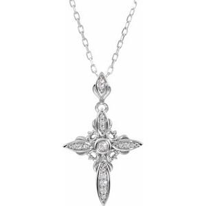 "Sterling Silver Cubic Zirconia Cross 18"" Necklace"