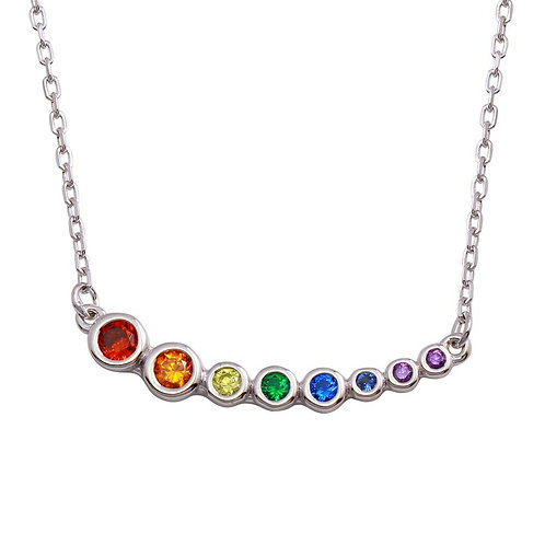 Graduated Multicolor Stone Sterling Silver Necklace
