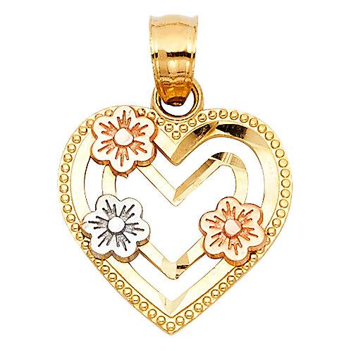 14K 3C HEART W/ FLOWER PENDANT