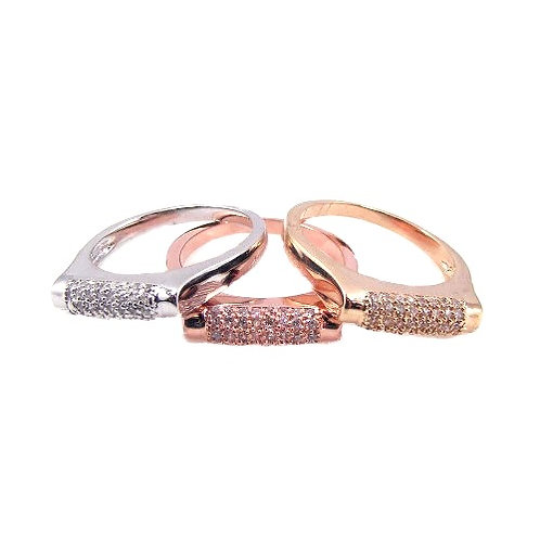 925 Rhodium, Gold and Rose Gold Plated CZ 3 Ring Set