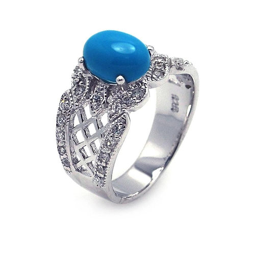 Oval Turquoise Center Cubic Zirconia Sterling Silver Filigree Ring