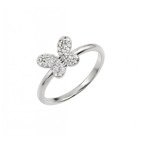 925 Rhodium Plated CZ Butterfly Ring