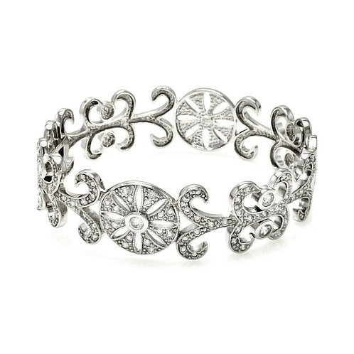 925 Rhodium Plated Flower Design CZ Bangle Bracelet