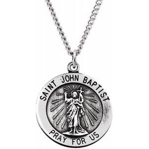 Sterling Silver 18 mm Round St. John the Baptist Necklace