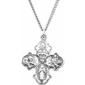 """Sterling Silver 31x26 mm Four-Way Cross 24"""" Necklace"""