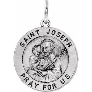 14K White 18 mm Round St. Joseph Medal