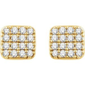 14K Yellow 1/5 CTW Diamond Square Cluster Earrings