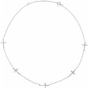 "14K White .08 CTW Diamond 5-Station Cross 16-18"" Necklace"