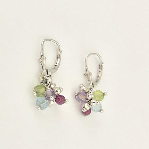 Multicolor Stone Drop Earrings in 14k White Gold