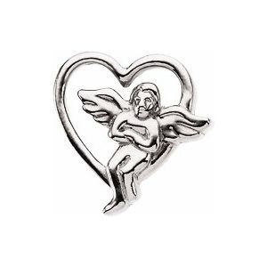 Sterling Silver 9x9 mm Heart with Angel Lapel Pin