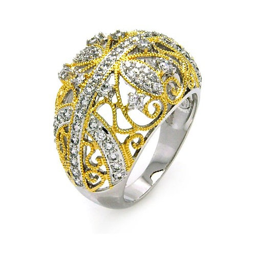 925 Rhodium and Gold Plated 2 Toned Clear CZ Filigree Dome Ring
