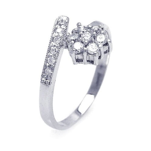 925 Rhodium Plated Pave Set CZ Flower Ring