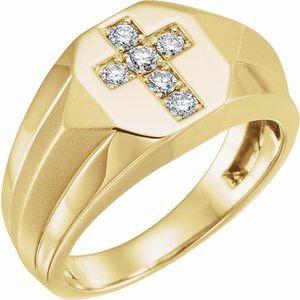 14K Yellow 1/3 CTW Diamond Cross Ring
