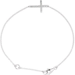 "14K White 1/5 CTW Diamond Sideways Cross 8"" Bracelet"