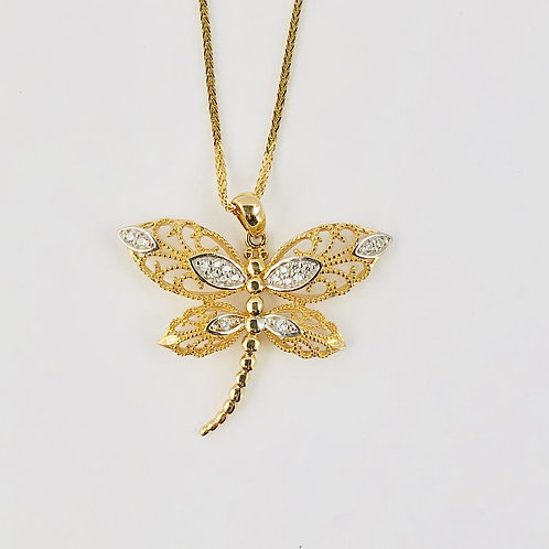 Dragonfly Necklace in 14k Yellow Gold