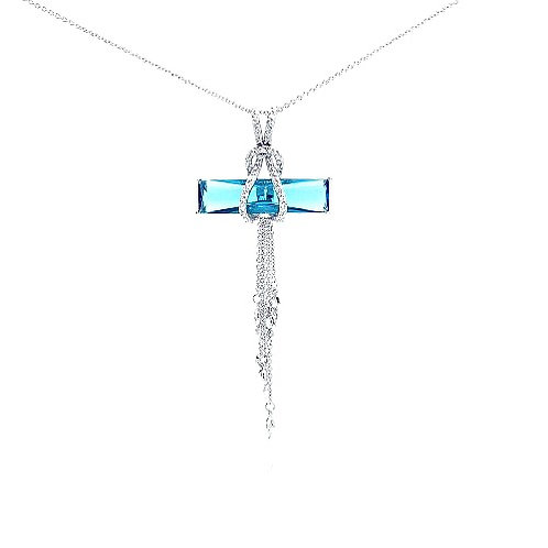 925 Rhodium Plated Blue CZ Hanging Strand Pendant Necklace