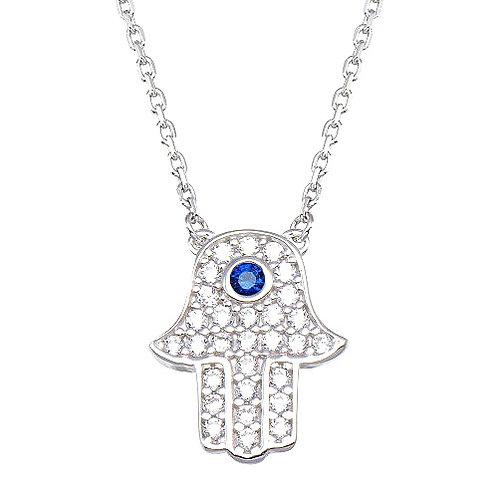 925 Rhodium Plated CZ Hamsa Necklace