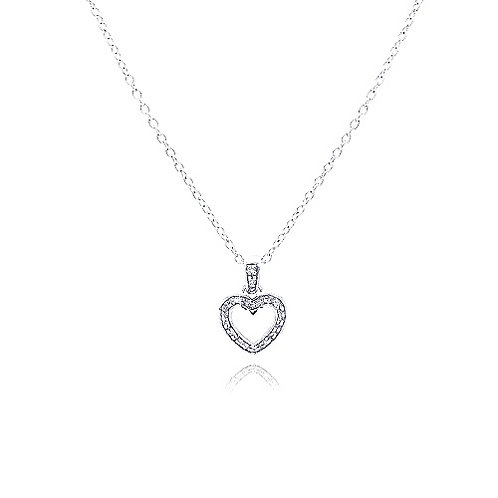 925 Clear CZ Rhodium Plated Classic Heart Pendant Necklace