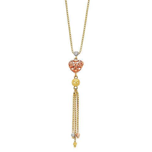 14K Tricolor Gold Fancy Necklace