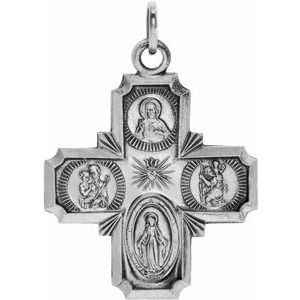 14K White 18x18 mm Four-Way Cross Medal
