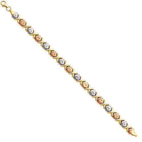 14K Tricolor Gold Stampato Bracelet