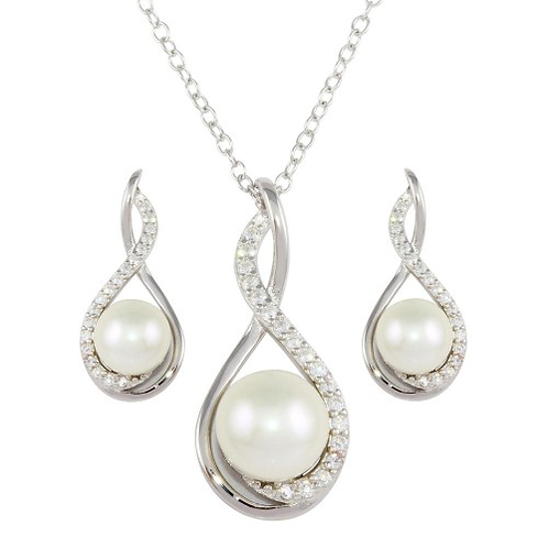 Teardrop Pearl and CZ Necklace and Earring Set
