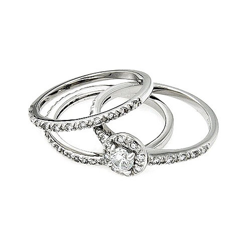 925 Rhodium Plated Clear Cluster CZ Bridal Stackable Ring Set