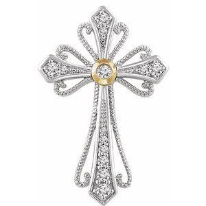 14K White & Yellow 1/6 CTW Diamond Cross Pendant
