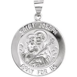 14K White 22 mm Round Hollow Joseph Medal