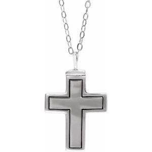 """10K White Cross Ash Holder 18"""" Necklace"""