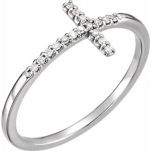 14K White .08 CTW Diamond Sideways Cross Ring
